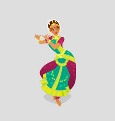 A woman dancing indian dance in vector