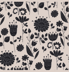 abstract flowers folk seamless pattern vector image