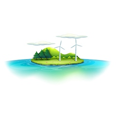 An island with windmills vector image