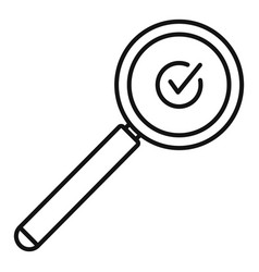 Approved search icon outline style vector
