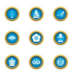 Asian oversight icons set flat style vector
