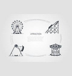 attraction - swings and carousels attractions vector image