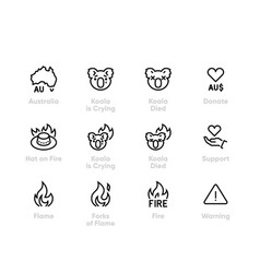 australia wildfire icons koala fire vector image