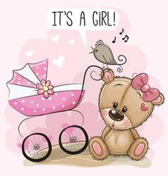 Bacarriage and teddy bear vector