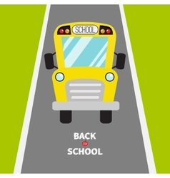 Back to school Yellow school bus kids Green vector