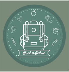 Backpack with pencils colors and erlenmeyer flask vector