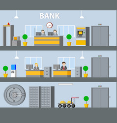 Bank interior horizontal banners vector