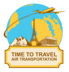 banner with plane landmarks and planet earth vector image