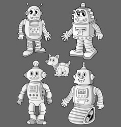 Black and white robots on grey vector