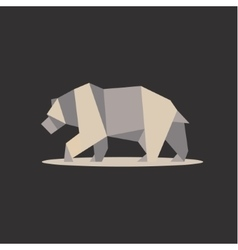 brown bear in polygon style design on low poly vector image