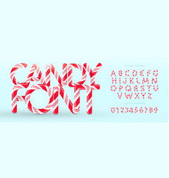 candy font alphabet and numbers sweet vector image