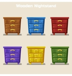 cartoon colorful wooden nightstand in vector image