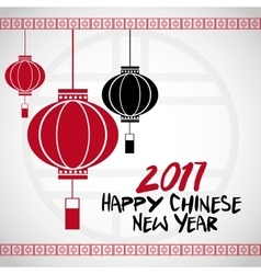 Chinese new year 2017 lanterns white bakcground vector