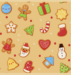 christmas oatmeal cookies seamless pattern vector image