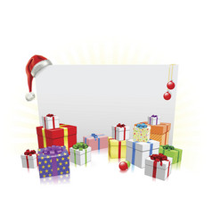 christmas presents and sign concept vector image