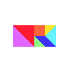Color tangram puzzle in square or rectangle shape vector