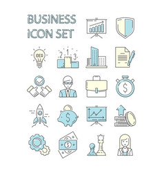 colored business icon responsive symbols set data vector image