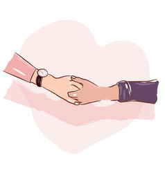 colored hand sketch holding hands vector image