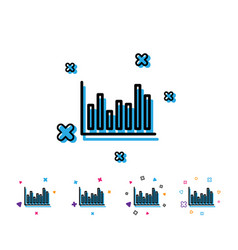 column chart line icon financial graph vector image