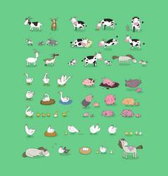 cute cartoon farm animals and birds funny horses vector image