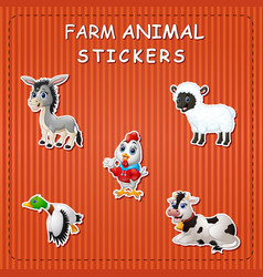 cute cartoon farm animals on sticker vector image