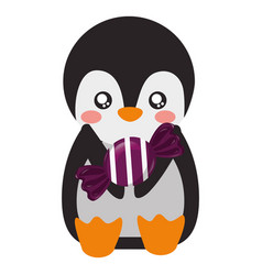 cute penguin with sweet candy vector image