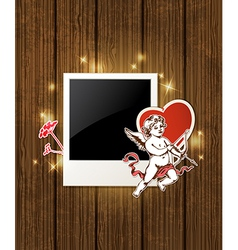 Decorative wooden background with photo and Cupid vector image