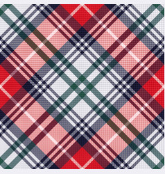 diagonal tartan seamless texture in red and light vector image
