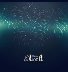 Diwali greeting background with fireworks vector