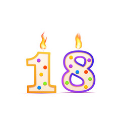 eighteen years anniversary 18 number shaped vector image