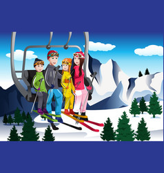 family going skiing sitting on a ski lift vector image