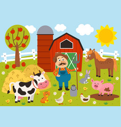 farmer and farm animals in barnyard vector image