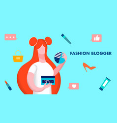 fashion blogger model flat vector image