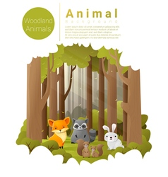 Forest landscape background with woodland animals vector