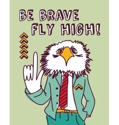 Fun business suit bird brave color vector