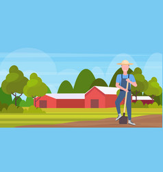 gardener holding shovel smiling countryman working vector image