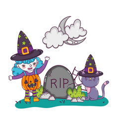 Girl with pumpkin costume wearing hat and rip vector
