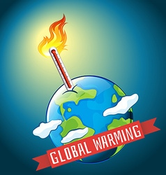 Global warming with hot temperature vector