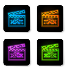 Glowing neon movie clapper with inscription xxx vector
