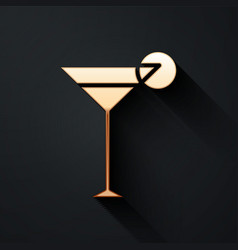 Gold martini glass icon isolated on black vector