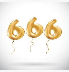 Golden number 666 six hundred sixty six metallic vector