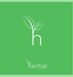 h and leaves monogram herbal cosmetics vector image