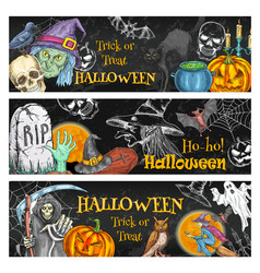 Halloween spooky night party chalkboard banner vector