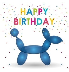 happy birthday balloon dog shape confetti vector image