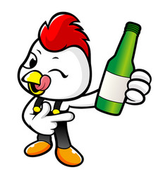 Happy cock character holding a bottled of vector