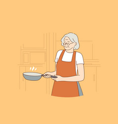 happy elderly cooking lifestyle concept vector image