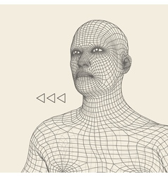 Head 3d Grid Geometric Face Design vector