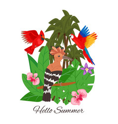 Hello summer jungle design banner vector