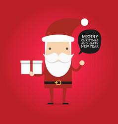 hipster cartoon santa claus holding gift box vector image