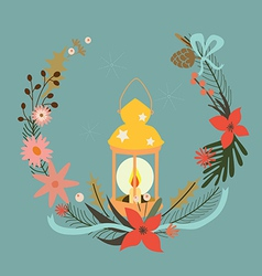 Holiday composition with candle vector image